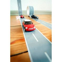 Tape and Race Car Kit. This amazing Tape and Race Car Kit lets your kids set up a track wherever they are. All you will need is a floor to stick it on, peel of the tape and the kids will be off to the races.