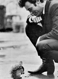 Clint Eastwood on the set of Coogan's Bluff, 1968.  Clint has always loved animals and even today he has a squirrel he feeds everyday in his...
