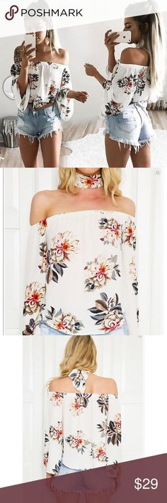 "❗️New! ""Farrah"" Off-Shoulder Floral Blouse  Off shoulder floral blouse with separate neck tie. Pair with denim shorts or a denim miniskirt. Size chart in photos. Material is slightly textured polyester.  Tops Blouses"