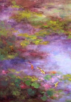Otherworld - Dallas Arboretum Koi Pond by Nancy Medina, painting by artist Nancy… Abstract Landscape Painting, Abstract Wall Art, Landscape Art, Landscape Paintings, Modern Paintings, Patterns Background, Biblical Art, Oil Painting On Canvas, Pond Painting