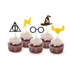 Levfla Harry Potter Inspired Cupcake Toppers Wizard Birthday Party Cake Decorations Pack of 25 Harry Potter Cupcakes, Harry Potter Desserts, Harry Potter Cupcake Toppers, Harry Potter Fiesta, Harry Potter Birthday Cake, Birthday Cupcakes, Birthday Parties, Imprimibles Harry Potter Gratis, Cake