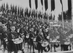 15th September 1935: Drummers in the German Nazi youth organisation, the HitlerYouth, at a rally at Nuremberg. (Photo by Fox Photos/Getty Images)