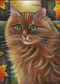 Orange Longhair Cat Fall Painting