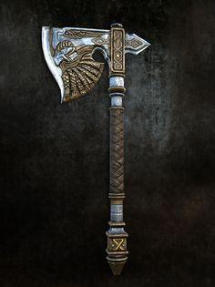 ArtStation - Viking Axe, I Kon viking warrior vikings champions norse winter is coming Swords And Daggers, Knives And Swords, Espada Viking, Viking Axe, Viking Sword, Viking Warrior, Cool Swords, Battle Axe, Medieval Weapons