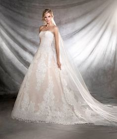 Pronovias Champagne Splendid Mermaid Strapless Neckline Wedding Dresses ORIETA Style