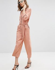 Image 1 ofASOS Jumpsuit with Culotte Leg and Contrast Piping