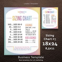 Sizing Chart, 18x24 / 8,5x11, Sign, Digital, Lula Sizing Chart, Size Chart, Marketing, Instant download, LLR Size Chart #3 by Lulades on Etsy