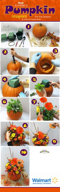 "You Need:   Knife, Pumpkin, Vase, Floral Dish or empty can 2-3"" smaller than pumpkin, Scissors, Spoon, Dry Fall Leaves, Wheat Spikes, Cattails, Fall Flowers, Tape,  Floral Foam (if you are going to use a dish)    instructions: Carve pumpkin, make hole 1.5"" larger than vase.  Remove seeds & pulp.  Fill vase halfway with water or soak the foam; place in pumpkin.  Select flowers, if you are using a vase you must trim the stems twice as tall as the pumpkin.  Place tallest flowers in center"