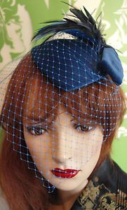 1940 hats for women | Vintage HAT 1940s 50s Style Veil Dress Hat Velvet BLUE VELVET VEIL HAT ...