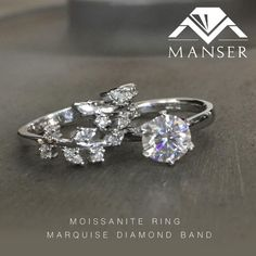White gold moissanite engagement ring with marquis shape diamond wedding band. Diamond Bands, Diamond Wedding Bands, Wedding Rings, Marquise Diamond, Moissanite Rings, White Gold, Shape, Engagement Rings, Jewels