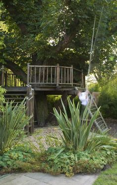 Willows and Water is a new garden featuring a pond, deck and tree-house and providing a transition between a newly converted coach-house and surrounding water meadows in rural Surrey