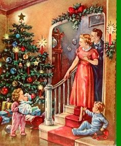 Old Christmas Post Cards — Unused Cozy Tree in the Parlor, 1940's (577x700)
