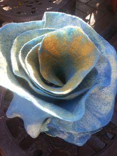 Blue white yellow felted ruffle scarf by oksana on Etsy, $50.00