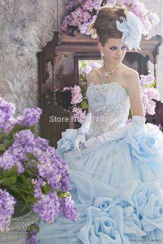 Aliexpress.com: Acheter Custom Made robe de bal en organza bleu Stella Libero de robe de mariée bleue 2015 Princess Romantic de robe de bronze fiable fournisseurs sur ROMINACI