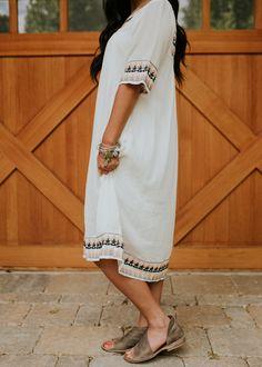 White Knee Length Dress | ROOLEE