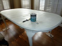 Our Fifth House: Bringing Shabby Back - The New Kitchen Table Paint Furniture, Furniture Projects, Furniture Makeover, Home Projects, Home Furniture, Wood Table, Dining Room Table, Table And Chairs, A Table