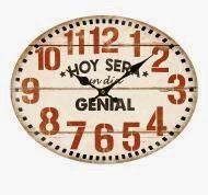 """Reloj ovalado con mensaje """"Hoy será un día genial""""."""