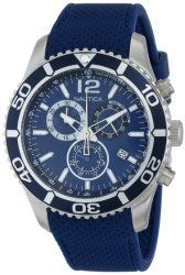Nautica Men's N15103G NST 09 Stainless Steel Watch with Blue Silicone Band