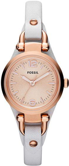 Fossil Ladies Casual Georgia Mini Rose Gold & White ES3265, Fossil horloge . Officiële Fossil dealer, met Garantie
