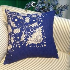 Chinese style flower pillow Blue and white porcelain home decorative cushions