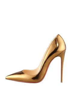 Christian Louboutin So Kate Mirrored Leather Pump in Bronze