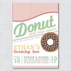 Printable Donut Party Invitation  Digital File by IvyInTheBay, $15.00