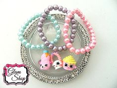 Shopkins Bracelets Easter Collection  SET of 3  by GlamShopBeads