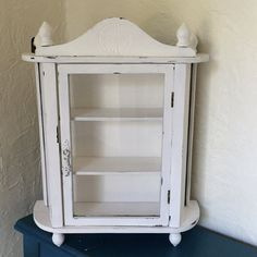 perfect to hang on the wall as a medicine cabinet - Vintage curio  wall or table top white by MySugarBlossom on Etsy