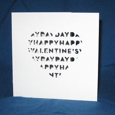 Valentines Day Card, Heart Card, Hand Cut Card    Perfect to send to your special valentine!    Each card is made out of Pure White
