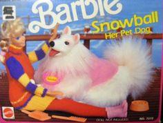 Barbie Pet Dog Snowball 1990 by Mattel. Barbie Cat, Barbie Horse, Barbie Kids, Bad Barbie, Barbie And Ken, Barbie Family, Barbie Stuff, Barbie Furniture, Our Generation Dolls