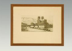 Large engraving of Notre Dame signed by Charles Meryon (1821-1868) matted and framed, circa 1854.