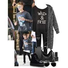 #With Justin at La Escala by littlejuss-94 on Polyvore featuring Frame Denim, Converse, Free People, Calvin Klein, Stila, Givenchy, Bobbi Brown Cosmetics and Justin Bieber