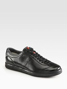 Prada Leather Lace-Up Sneaker