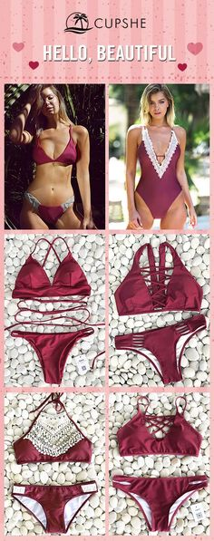 Hello, Beautiful~ Deliver yourself a more elegant look on the beach, with a marvelous piece of burgundy colored bikini. Choose this style and find inspiration here!