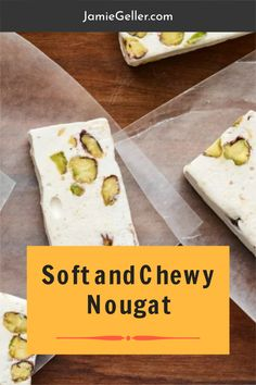 I love Italian style soft and chewy nougat. Its not too bad for you either as desserts go since it starts with egg white and includes nuts and dried fruit. Feel free to make it your own by adding chocolate, dried fruits, or even citrus peel. I tried it with chocolate and it actually melted in, made cool looking swirls, and was really good. #dairyfree #desserts #nougat Passover Desserts, Passover Recipes, No Cook Desserts, Healthy Desserts, Gluten Free Recipes, Baking Recipes, Dessert Recipes, Dried Cherries, Dried Fruit