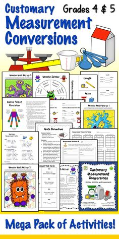 Measurement conversion lessons have never been so easy or fun! Includes over 70 pages of engaging activities to review and assess customary measurement conversion skills. Math center games, task cards, cooperative learning activities, printables, word problems, and tests. Perfect for 4th and 5th grade! Aligned with CCSS 4.MD.1, 4.MD.2, and 5.MD.1. $ #LauraCandler