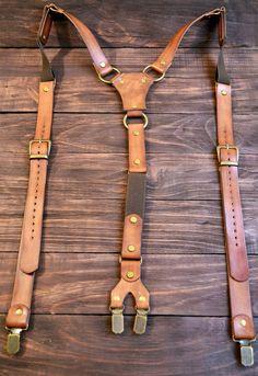 Mens Suspender, leather Suspender, personalized Suspender, Handmade Suspender, Wedding G. - - My MartoKizza Classic Leather, Tan Leather, Leather Totes, Leather Bags, Leather Purses, Groom Suspenders, Groom Suits, Groom Attire, Mens Leather Suspenders