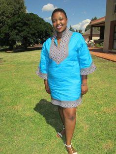 Short linen and seshoeshoe / seshweshwe kaftan dress. African Print Dresses, African Print Fashion, African Fashion Dresses, African Dress, African Clothes, African Prints, African Beauty, African Women, Donna Douglas