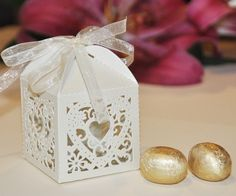 luxury cut out design wedding boxes | Luxury cut-out design wedding sweets gift favour boxes with ribbon ...