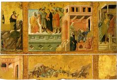 Duccio di Buoninsegna,This is a fragment of the reverse side of the Maesta altarpiece.It represents scenes from the Passion of Christ: Crucifixion and Christ before Pilate.