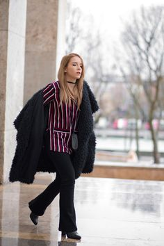 PFW LOOK #1 — Silver Girl wearing Asos in Paris during Paris Fashion Week with black flared jeans and big fur coat. Styled with Kalifornia by Kenzo and a black velvet choker. Street Style Outfit look. www.silvergirl.org