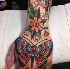 Women Hand With Butterflies Tattoo, Butterfly Flower On Women Hand Tattoo, Women With Butterfly Hand Tattoo, Women Butterfly Flowers Tattoo Hand