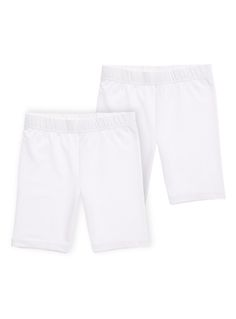 Stock up on the essentials with this pack of two cycle shorts. These cycle shorts are styled in a soft stretch jersey for all round comfort. Girls white cycle shorts Pack of 2 Stretch waistband Keep away from fire