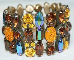 Kramer Autumn Colours Cha Cha Rhinestone Bracelet Earrings Pin Set
