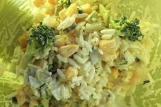 Curry broccoli salad with corn and rice from asterisk flap chef Lunch To Go, Broccoli Salad, Barbecue, Potato Salad, Cabbage, Salads, Food And Drink, Rice, Vegetables