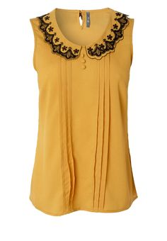 Yellow sleeveless- would be cute tucked in w a skirt or out w dress pants for work - pair w jeans to dress down!