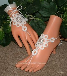 Wedding Boot Barefoot Sandals, Foot Jewelry, Crochet with Ship Wheel, Summer Beach Shoes, Hippie Shoes, Hand Jewelry, Foot Accessories