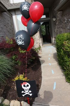 X marks the spot - a trail for pirate party goers right up to our front door.