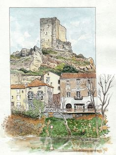 Drawing and Illustration. Pen And Watercolor, Watercolor Landscape, Landscape Art, Watercolor Paintings, Watercolors, Building Illustration, Illustration Art, Art Sketches, Art Drawings