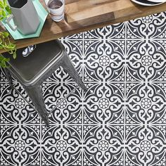Monochrome magic: Make a statement on the floor with patterned tiles like this one by Brit...
